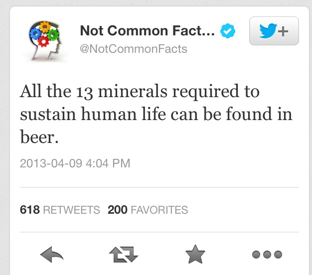 "While it may be true that beer contains all 13 essential minerals (I say  ""may� because the nutrient profile only lists 11 minerals) I still think ..."